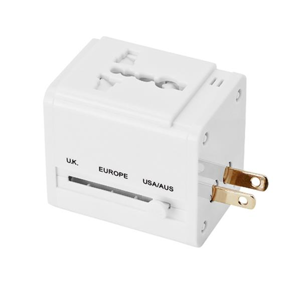 Travel adapter with 2 USB ports, PU case
